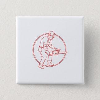Lumberjack Arborist Chainsaw Circle Mono Line Button