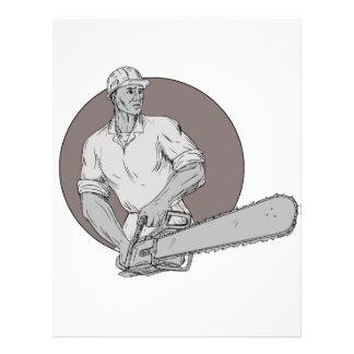 Lumberjack Arborist Holding Chainsaw Oval Drawing Letterhead
