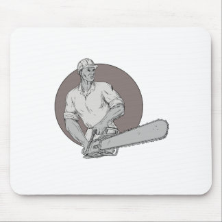 Lumberjack Arborist Holding Chainsaw Oval Drawing Mouse Pad