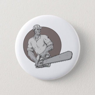Lumberjack Arborist Holding Chainsaw Oval Drawing Pinback Button