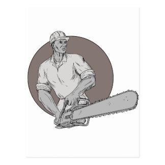 Lumberjack Arborist Holding Chainsaw Oval Drawing Postcard