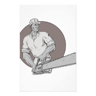 Lumberjack Arborist Holding Chainsaw Oval Drawing Stationery