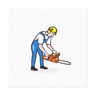 Lumberjack Arborist Operating Chainsaw Cartoon Stretched Canvas Prints