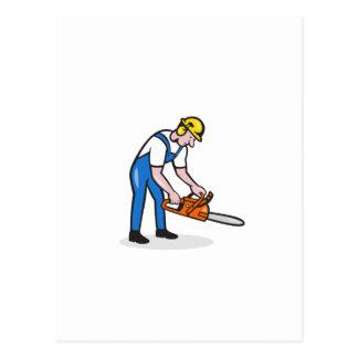 Lumberjack Arborist Operating Chainsaw Cartoon Postcards