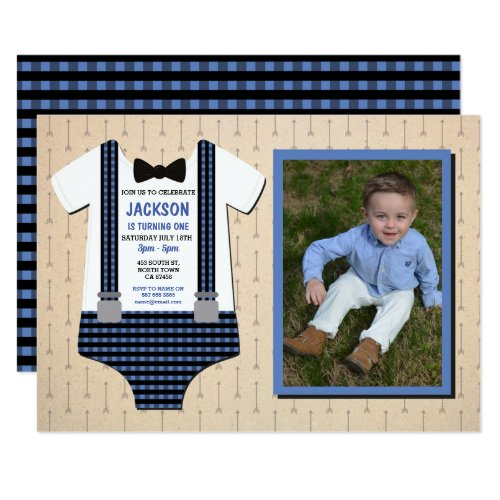 Lumberjack Baby Birthday Party Blue Photo One Invitation