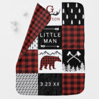 Lumberjack Baby Blanket Buffalo Plaid Bear Nursery