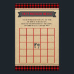 """Lumberjack Baby Shower Bingo Card<br><div class=""""desc"""">Lumberjack baby shower bingo cards with a red and black buffalo plaid background. These cute baby shower bingo card flyers are easily customize for your event by simply adding the text of your choice in the font style you prefer.</div>"""