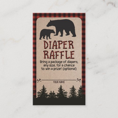 Lumberjack Baby Shower Diaper Raffle Card Bear