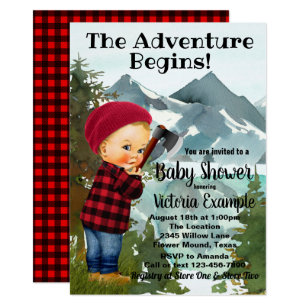 Lumberjack Baby Shower Invitations
