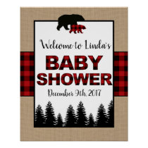Lumberjack Baby Shower Welcome Sign Poster