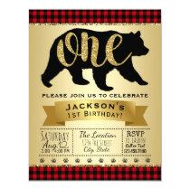 Lumberjack Bear 1st Birthday Party Invitations