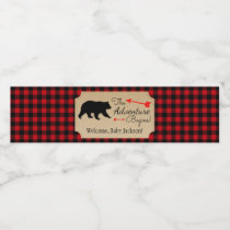Lumberjack Bear Baby Shower Water Bottle Labels