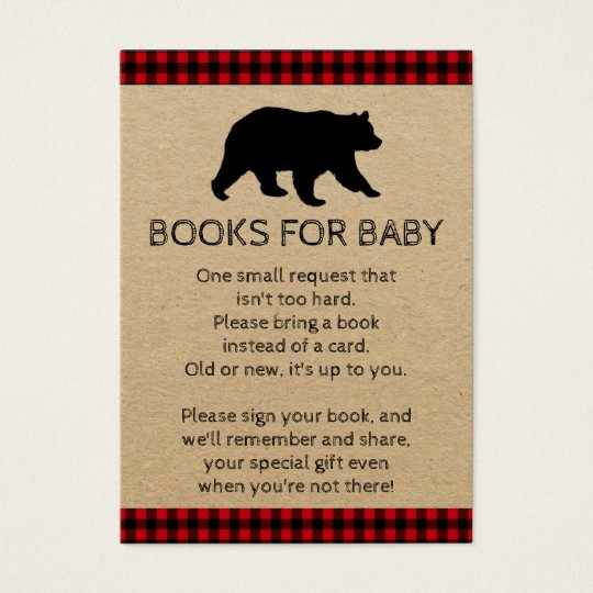Lumberjack Bear Bring A Book Baby Shower Cards Zazzle