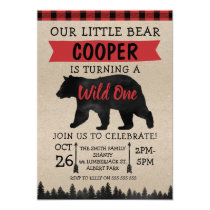 Lumberjack Bear Wild Birthday Party Invitation