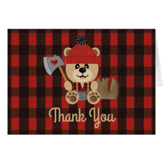 Lumberjack Bear Wilderness Baby Shower Thank You Card