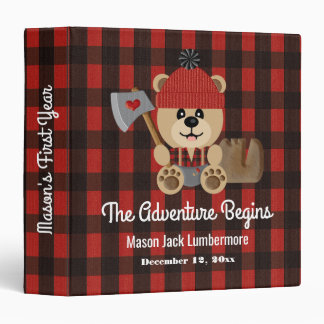 Lumberjack Bear Wilderness Baby's First Year Album Binder