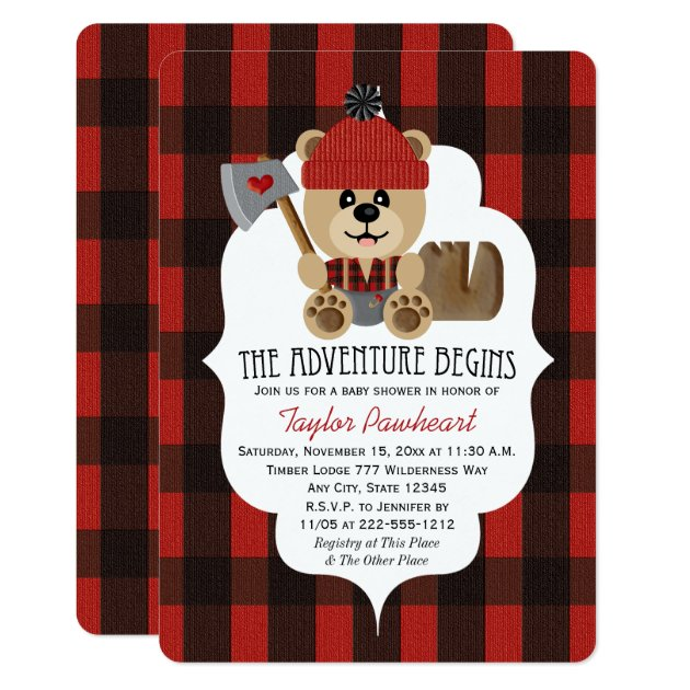 Lumberjack Bear Wilderness Themed Baby Shower Card | Zazzle