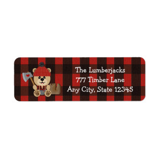 Lumberjack Bear Wilderness Themed Baby Shower Label