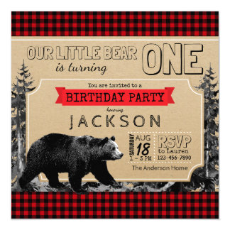 Lumberjack Birthday Buffalo Plaid Boys Little Bear Card