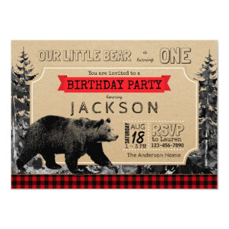 Lumberjack Birthday Buffalo Plaid Little Bear Card