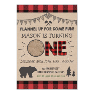 Lumberjack Birthday Invitation Woodland Birthday at Zazzle