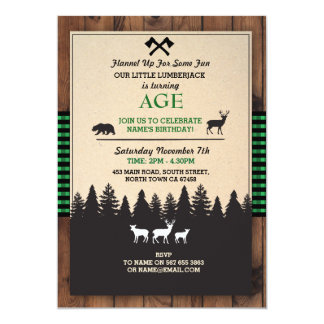 Lumberjack Birthday Invite ANY AGE Green Invite