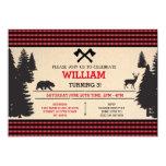 Lumberjack Birthday Invite Red Woodland Invitation