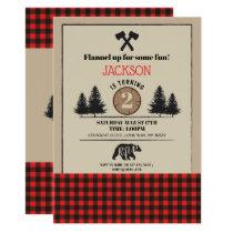 Lumberjack Birthday Party Any Age Invite Bear Wood