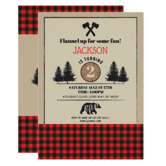 Lumberjack Birthday Party Any Age Invite Bear Wood