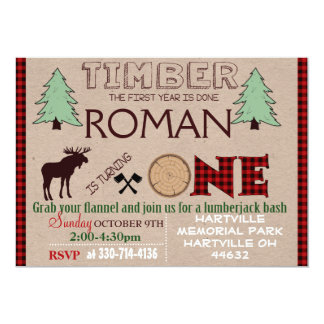 Lumberjack birthday party invitation card