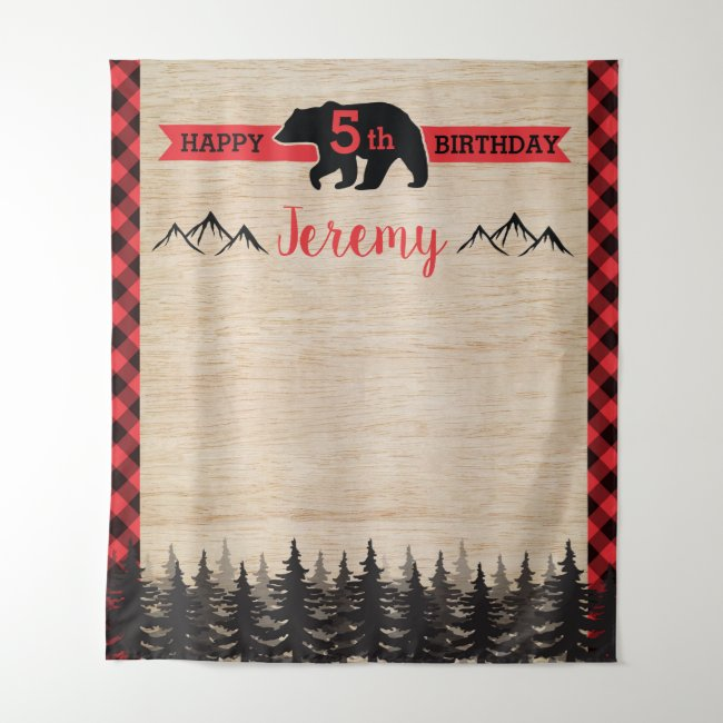 Lumberjack Birthday Party Photo Backdrop