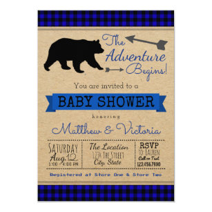 Lumberjack Blue Buffalo Plaid Boy Bear Baby Shower Invitation