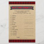 """Lumberjack Boho Baby Shower Games Word Scramble<br><div class=""""desc"""">Boho lumberjack buffalo plaid baby shower games with baby word scramble on one side, and nursery rhyme quiz on the other. This boys boho lumberjack buffalo plaid baby shower game can be fully customized. You can choose the size you need, can change rules, the questions and the words. Hand them...</div>"""
