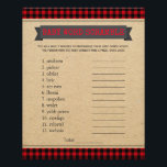 """Lumberjack Boho Baby Shower Games Word Scramble Flyer<br><div class=""""desc"""">Boho lumberjack buffalo plaid baby shower games with baby word scramble on one side, and nursery rhyme quiz on the other. This boys boho lumberjack buffalo plaid baby shower game flyer is fun and economical! You can change rules, the questions and the words. Hand them out to your guests telling...</div>"""