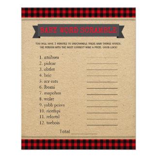 Lumberjack Boho Baby Shower Games Word Scramble Flyer