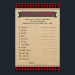 """Lumberjack Boho Baby Shower Games Word Scramble Flyer<br><div class=""""desc"""">Boho lumberjack buffalo plaid baby shower games with baby word scramble on one side, and nursery rhyme quiz on the other. This boys boho lumberjack buffalo plaid baby shower game can be fully customized. You can choose the size you need, can change rules, the questions and the words. Hand them...</div>"""