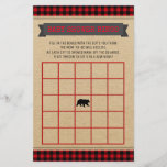 """Lumberjack Boys Baby Shower Bingo Card<br><div class=""""desc"""">Lumberjack baby shower bingo cards with a cute bear on a red and black buffalo plaid background. These cute baby shower bingo card flyers are easily customize for your event by simply adding the text of your choice in the font style you prefer.</div>"""