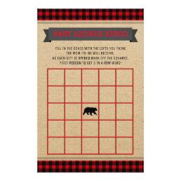 Lumberjack Boys Baby Shower Bingo Card