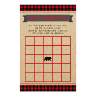 Lumberjack Boys Baby Shower Bingo Card