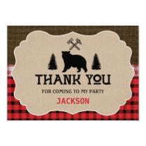 Lumberjack Boys Birthday Thank You Flat Card