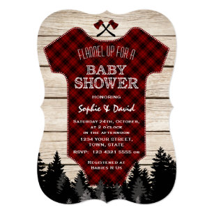 Lumberjack Buffalo Baby Suit Wood Baby Shower Invitation