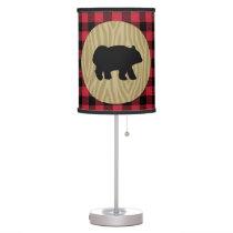 Lumberjack Buffalo Pattern Black Bear Lamp