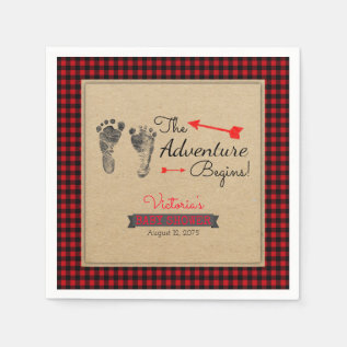 Lumberjack Buffalo Plaid Baby Shower Napkin at Zazzle