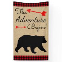 Lumberjack Buffalo Plaid Bear Baby Shower Banner