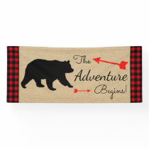 Lumberjack Buffalo Plaid Bear Boy Baby Shower Banner