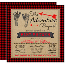 Lumberjack Buffalo Plaid Boys Boho Baby Shower Card