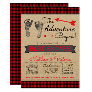 Lumberjack Buffalo Plaid Boys Boho Baby Shower Invitation