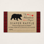 "Lumberjack Buffalo Plaid Boys Diaper Raffle Ticket<br><div class=""desc"">Boys diaper raffle tickets with cute bear,  arrows and The Adventure Begins text on a red and black buffalo plaid background. You can easily customize these lumberjack diaper raffle tickets for your event by simply adding your details in the font style you prefer.</div>"