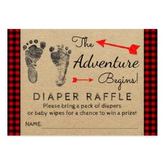 Lumberjack Buffalo Plaid Boys Diaper Raffle Ticket Large Business Card
