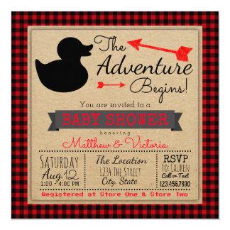Lumberjack Buffalo Plaid Boys Duck Baby Shower Card